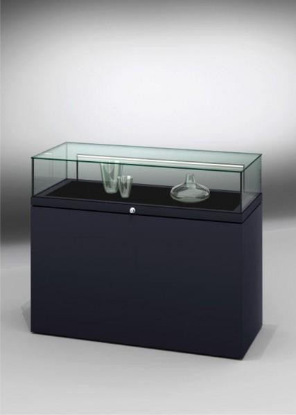 Tischvitrine Glas mit geschlossenem Sockel