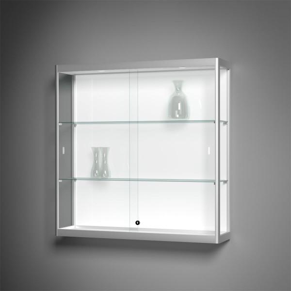 Wandvitrine Glas mit Beleuchtung - Versus mit filigranen 22mm Alu-Profil