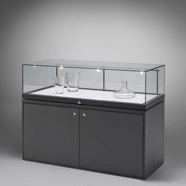 Tischvitrine Glas mit abschließbarem Unterschrank
